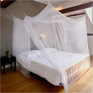 EVEN NATURALS Luxury Mosquito Net for Bed Canopy, XL Tent, Double to King, Camping Screen House, Finest Holes Mesh 380, Square Netting Curtain, 2 Entries, Easy to Install, Hanging Kit, Storage Bag