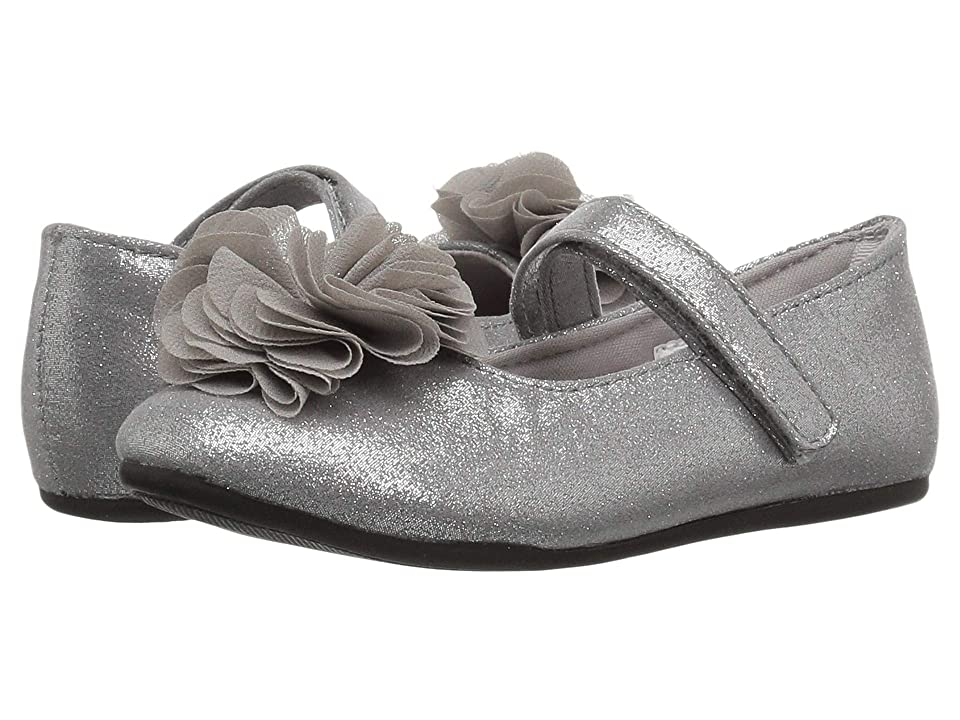 Baby Deer First Steps Shimmer Mary Jane with Flower (Infant/Toddler) (Silver) Girl