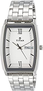 Titan Men's White Dial Color Stainless Steel Band Watch - 1737SM01
