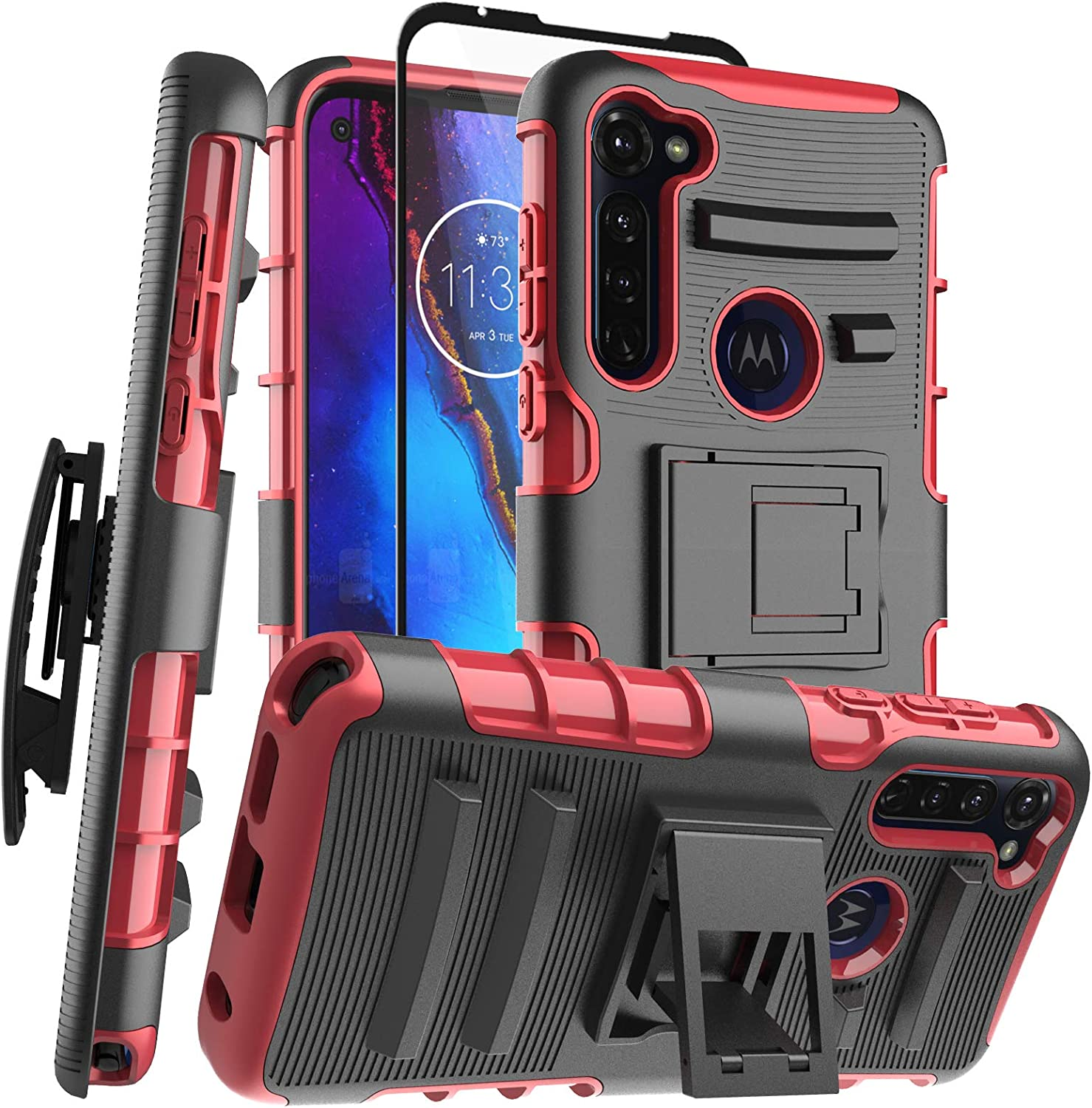 Aoways for Moto G Stylus Case [Tempered Glass Screen Protector] Belt Clip with Kickstand Heavy Duty Military Grade Shockproof Protection Case for Moto G Stylus - Red