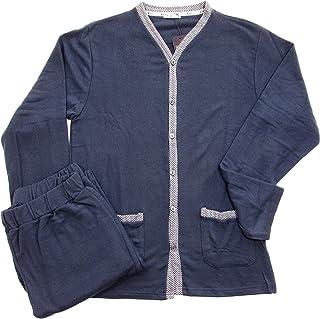 Pijama de hombre de invierno de punto Milán abierto con botones, color liso – MP507