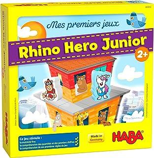 HABA – Mis Primeros Juegos – Rhino Hero Junior – 305913 – Juego de clasificación y construcción cooperativa – 2 años en ad...