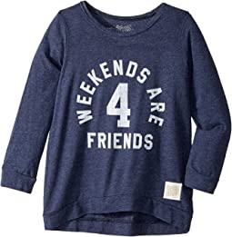 The Original Retro Brand Kids - Weekends Are For Friends Tri-Blend 3/4 Pullover (Big Kids)