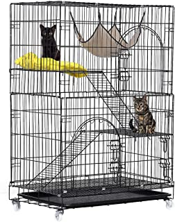 TOOCA 6-Tier / 4-Tier / 3-Tier Cat Cage, Cat Playpen Kennel Crate Chinchilla Rat Box Cage Enclosure with Ladders, Platforms Beds, Latches Tray Hammock, More Size Options