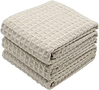 VeraSong Waffle Weave Kitchen Towels Thick Microfiber Dish Drying Towels Absorbent Tea Towels Hand Towel Lint Free 16Inch x 23Inch 3 Pack Khaki