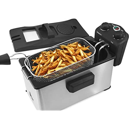 Elite Gourmet EDF-3500 Basket Electric Deep Fryer with Timer and Temperature Knobs (3.5 Quart, Stainless Steel)
