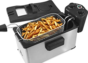 Elite Gourmet EDF-3500 Maxi-Matic 3.5 Quart Deep Fryer، فولاد ضد زنگ