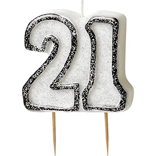 BLING Party Decorations And Tableware For 21st Birthday In BLACK SILVER Glitz 21 Candle