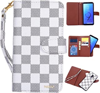 Galaxy S9 Plus Wallet Case Leather,GX-LV Galaxy S9 Plus Luxury Leather Wallet Folio Flip Case Cover with Card Slots Holder and Magnetic Detachable Case for Samsung Galaxy S9 Plus,White