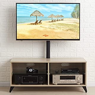 TAVR Wood Corner TV Stand Storage Console with Swivel Mount Height Adjustable TV Entertainment Center for 32 42 50 55 60 65 inch Plasma Flat or Curved Screen TV Shelf Storage Cabinet,Oak,TW4001
