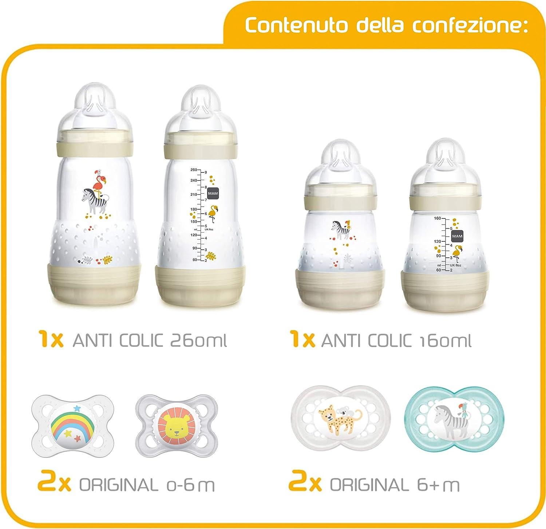 2x 0-6 e 2x 6+ mesi New: MAM First Steps Set Unisex Set di biberon con 2x Easy Start biberon anticolica 160//260 ml 4x Original ciuccio in silicone Regalo per neonato