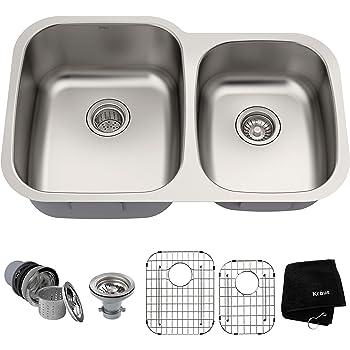 Kraus Kbu22 32 Inch Undermount 50 50 Double Bowl 16 Gauge Stainless Steel Kitchen Sink Amazon Com