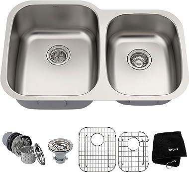 Kraus KBU24 32 inch Undermount 60/40 Double Bowl 16 gauge Stainless Steel Kitchen Sink