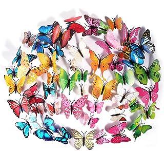 Foonii 72 PCS 3D Schmetterlinge Wanddeko Aufkleber Abziehbilder,schlagfestem Kunststoff Schmetterling Dekorationen, Wand-Dekor 12 Blau, 12 Farbe, 12 Grün, 12 Gelb, 12 Rosa, 12 Rot