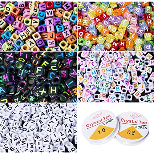 Beads Trendy New Cube Acrylic Letters Beads 3000pcs 500pcs 6*6mm Uv Assoted Colors With Gold Color Enligsh Character Square Diy Beads Choice Materials
