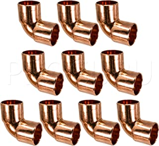 PROCURU 3/4-Inch Copper 90-degree Elbow C x C Sweat Connection, Short-Turn Copper Fitting for Plumbing, Professional Grade Lead-Free-Certified (3/4