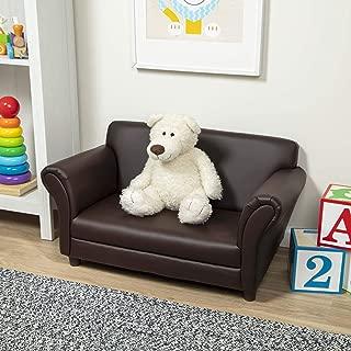 Melissa & Doug Child's Sofa, Coffee, Brown Faux Leather Children's Furniture (Kid-Sized Sofa, 34.4