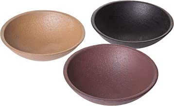 Red Co. Round Wooden Decorative Trinket Dishes,Black, Brown and Grey Finish, Set of 3 Colors, Small
