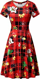 Womens Round Neck Short Sleeve Fit and Flare Skater Midi Casual Christmas Dress