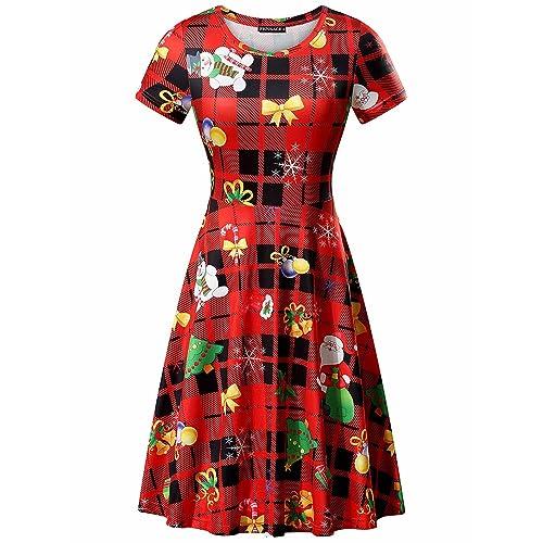 8d18c6b9f2 FENSACE Womens Short Sleeve St. Patricks Day Clover Dress