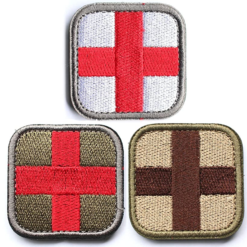 Bundle 3 Pieces - Medic Cross Tactical Patch With Backing Multi-tan Red White Green Decorative Embroidered Appliques 2