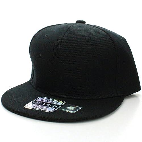 L.O.G.A Plain Flat Bill Visor Blank Snapback Hat Cap with Adjustable Snaps  - Black 5831bea480d4