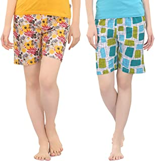 Zebu Women's Printed Shorts (Pack of 2 Shorts)