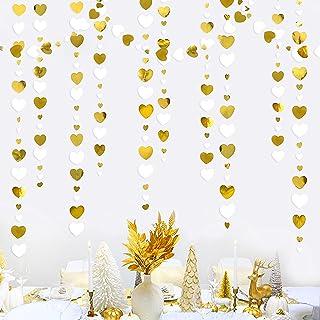 52Ft White and Gold Love Heart Garland Hanging Paper Streamer Banner for Anniversary Bachelorette Engagement Wedding Brida...