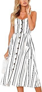 Angashion Women's Dresses-Summer Floral Bohemian Adjustable Spaghetti Strap Button Down Swing Midi Dress with Pockets