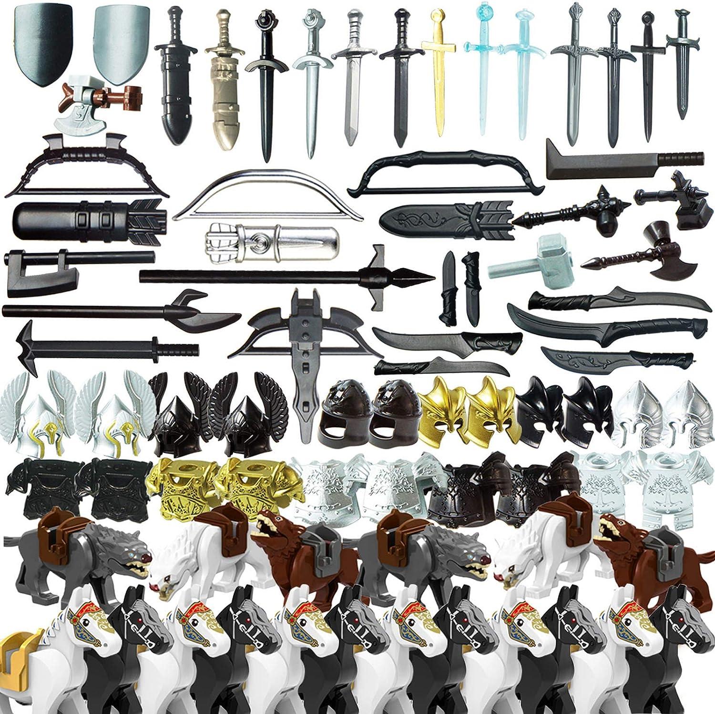 TRCS 80 unidades de casco de caballero, armadura de caballero, caballo, armas, juguete militario antiguo griego antiguo para minifiguras de policía SWAT, compatible con Lego