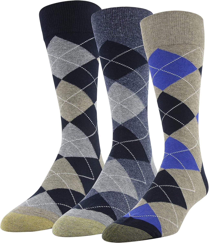 Gold Toe mens Carlyle Argyle Crew Socks, 3-pairs