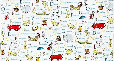 Robert Kaufman Dr. Seuss ABC Alphabet Words Adventure Quilt Fabric By The Yard, Adventure