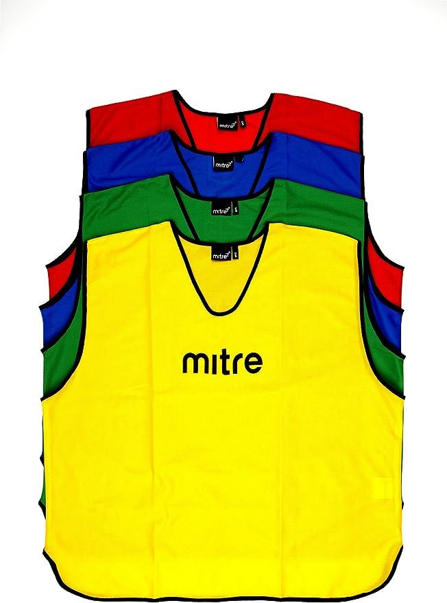 Mitre Mesh Bibs Red Blue Green Yellow Training Match Junior Small Mens Senior