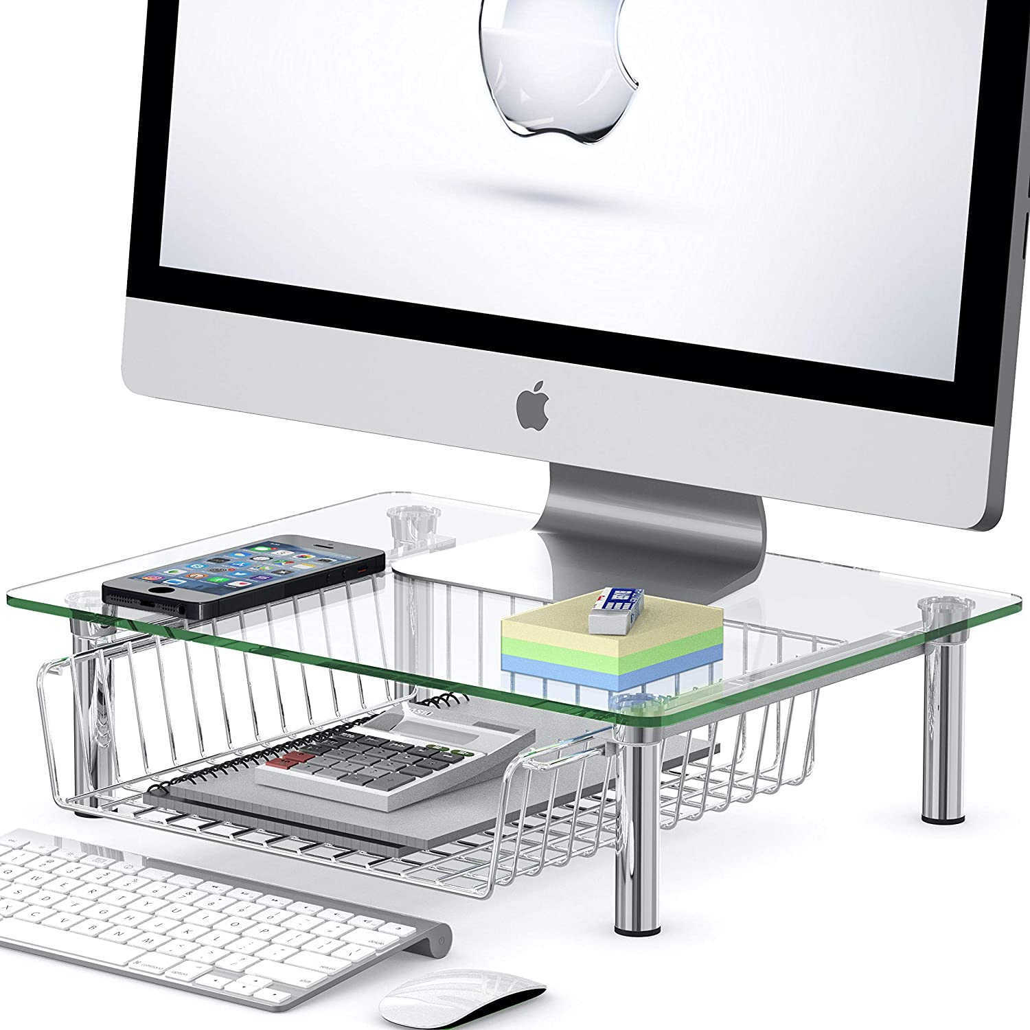 SimpleHouseware Computer Monitor Riser with Drawer, Glass