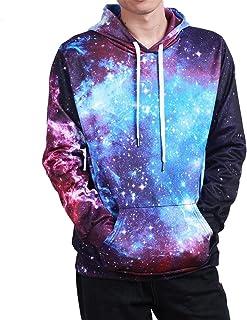 02fe12bd6671 Freebily Camiseta Casual para Mujer Hombre Unisex Sudadera con Capucha  Invierno Otoño Estampado Lobo Galaxia Cielo