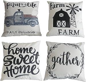 Onivein Farm Decor Pillow Covers Set of 4 Farmhouse Throw Pillow Covers 18x18 Inch Farm Windmill Truck Home Sweet Home Farm Throw Pillow Covers Linen Rustic Farm Decor Pillow Case for Home Couch Decor