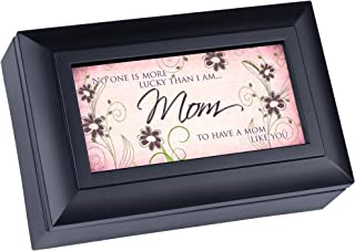Cottage Garden No One More Lucky to Have Matte Black Jewelry Music Box Plays Wonderful World