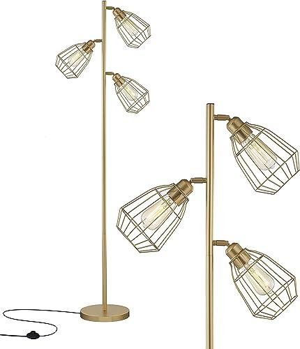 LeeZM Modern Gold Tree Floor Lamp Industrial Floor Lamps for Living Room Bedrooms Office with Bright Reading Lighting...