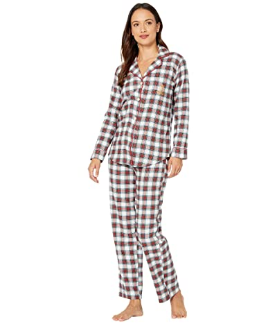 LAUREN Ralph Lauren Petite Brushed Twill Long Sleeve Notch Collar Long Pants Pajama Set (Ivory Plaid) Women