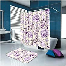 AMDXD Bathroom Set Curtain Mats Accessories Flower Purple Shower Curtain Polyester Mat for Bathroom 180x200CM