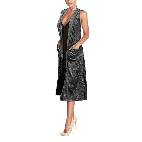 fe19cee55edb0 HyBrid   Company Womens Casual Sleeveless Open Front Drape Cardigan