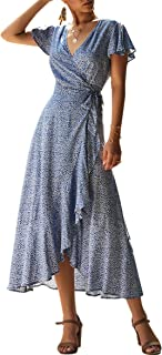 Women's Dresses Bohemian Wrap V Neck Short Sleeve Ethnic Style High Split Beach Maxi Dress