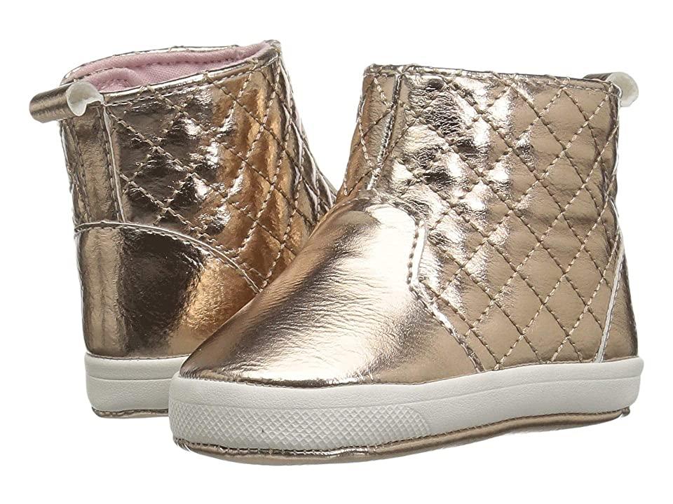 Baby Deer Soft Sole Quilted Boot (Infant) (Rose Gold) Girls Shoes
