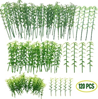 120 PCS Model Bamboo Trees, Woohome 3 Size Green Plastic Bamboo Trees for Home Decoration, Miniature Landscape, Landform Diorama Project (3.1 inch – 4.7inch)