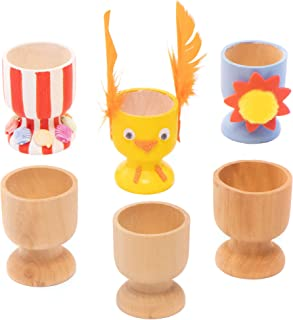 Baker Ross-EA448 Wooden Egg Cups Craft Project — Ideal for Kids' Arts and Crafts, Educational Toys, Gifts, Keepsakes and M...