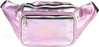 SoJourner Holographic Rave Fanny Pack - Packs for festival women, men   Cute Fashion Waist Bag Belt Bags (Pale Pink)