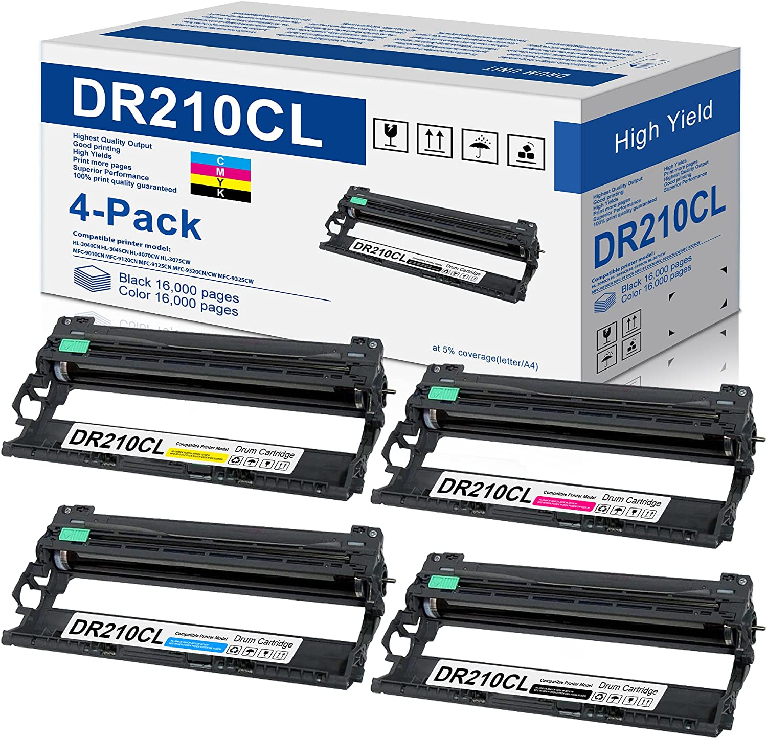4 Pack DR-210CL Drum Unit Compatible for Brother DR210CL Replacement for HL-3040CN 3045CN 3070CW 3075CW MFC-9010CN 9120CN 9125CN 9320CN/CW 9325CW Printer (1BK+1C+1M+1Y)