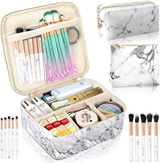 3Pcs Makeup Bags for Women, Travel Makeup Bag, Large Cosmetic Bag, Marble Makeup Bag with 10 Pcs Brushes, Makeup Case Organizer with Adjustable Dividers