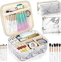 3Pcs Makeup Bags for Women, Travel Makeup Bag, Large Cosmetic Bag, Marble Makeup Bag with 10 Pcs Brushes, Makeup Case Orga...