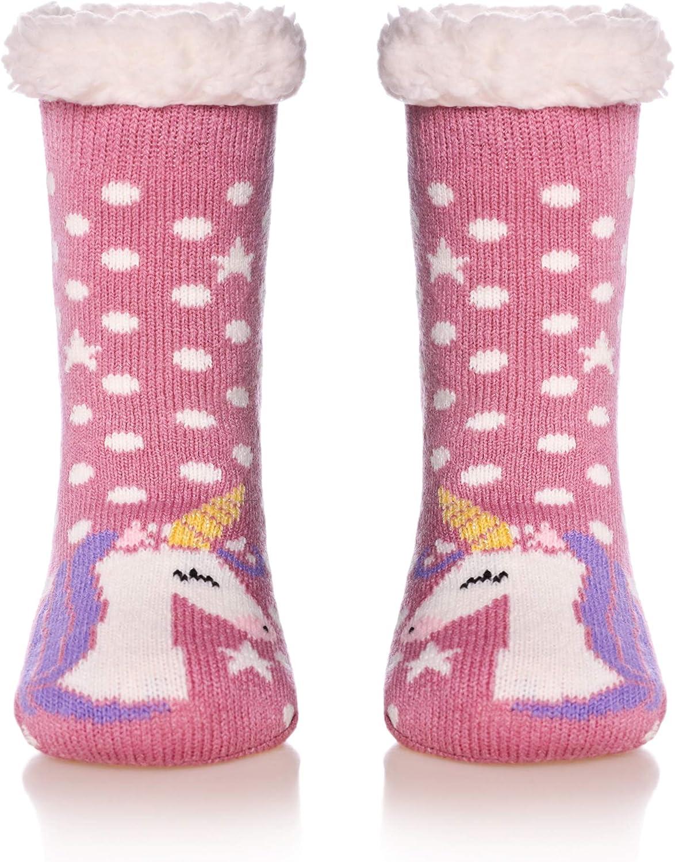 Kids Boys Girls Winter Fleece Lined Fuzzy Slipper Socks Soft Comfy Children Toddler Warm Socks